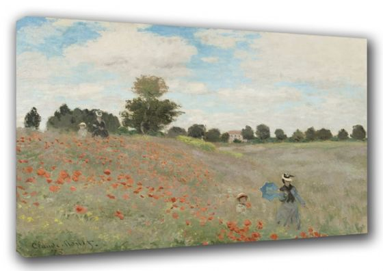 Monet, Claude: Wild Poppies, near Argenteuil. Fine Art Floral Landscape Canvas. Sizes: A3/A2/A1 (003218)